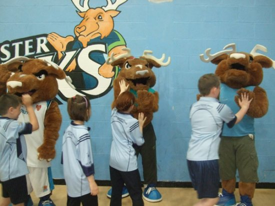 Pupils play mascots