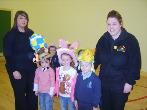Reception class winners of the Easter Bonnet Competition